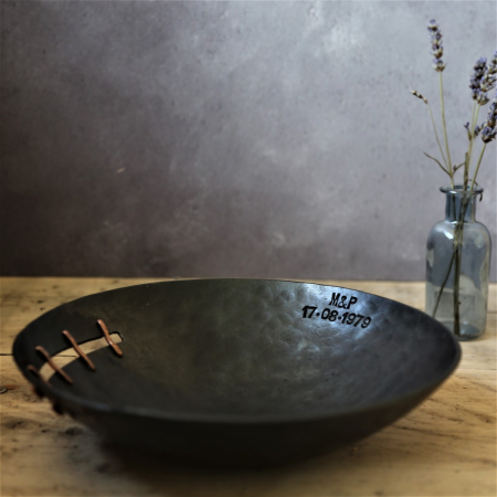 Iron and Copper Button Bowl