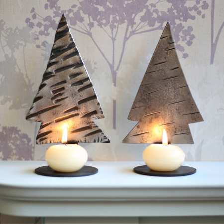 2 Christmas tree candle holders