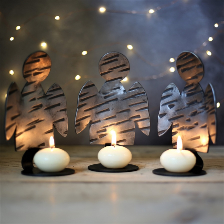 3 angel candle holders
