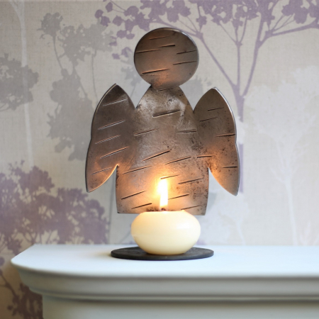 Angel candle holder with chissel texture