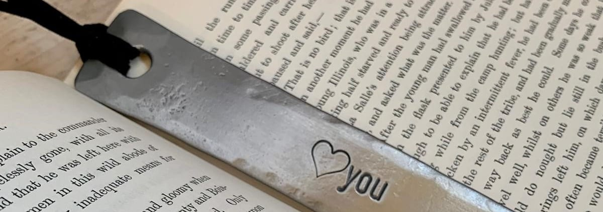 Personalised metal bookmark with heart