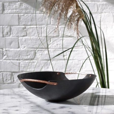 Handmade iron bowl with copper riveted handles